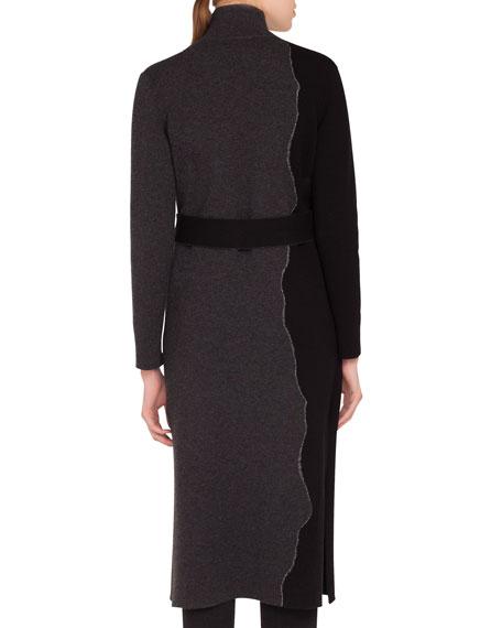 Reversible Self-Belt Bicolor Cashmere Coat