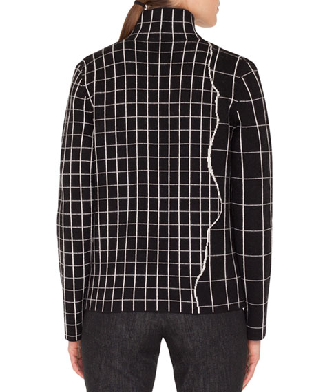Mock-Neck Marble-Tiles Intarsia Knit Cashmere Jacket