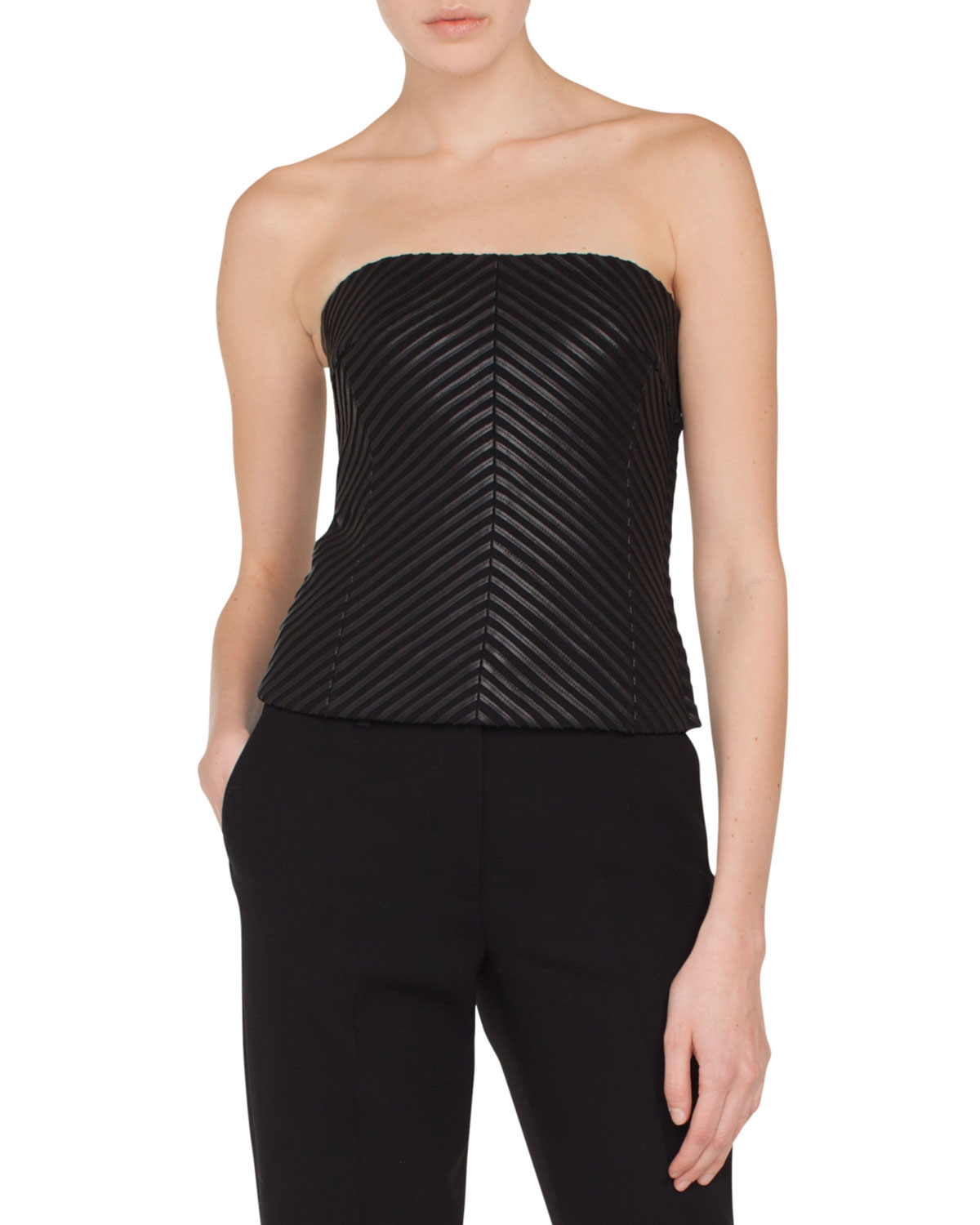 540d80481f9 Akris Strapless Herringbone Leather Bustier Top