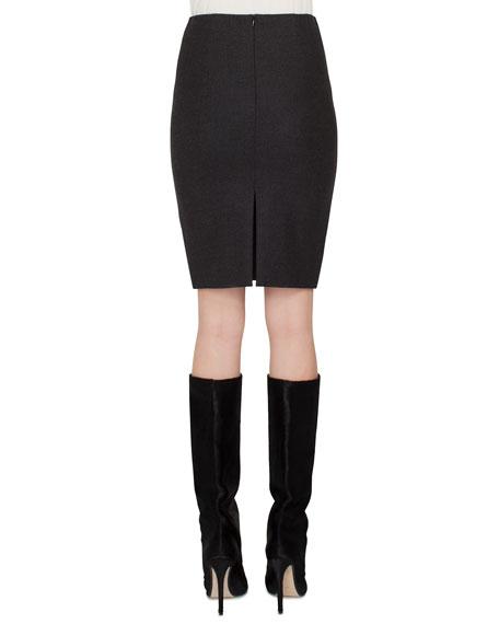Flannel Stretch-Wool Mini Pencil Skirt