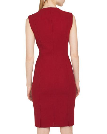 Sleeveless Round-Neck Zip-Front Four-Slit Hem Sheath Wool Dress