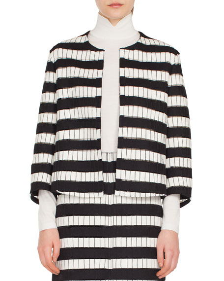 Reja Bracelet-Sleeve No Closure Architecture Embroidered Short Jacket