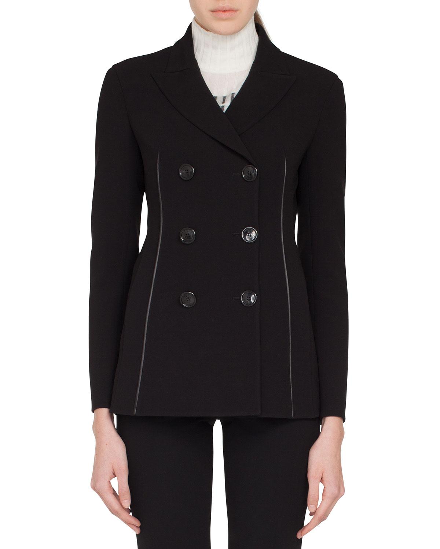 8dfd98f24c Akris Scott Double-Breasted Stretch-Wool Jacket w  Leather Trim ...
