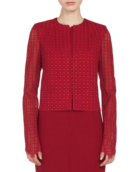 Sydney Round-Neck Zip-Front Embroidered Short Jacket