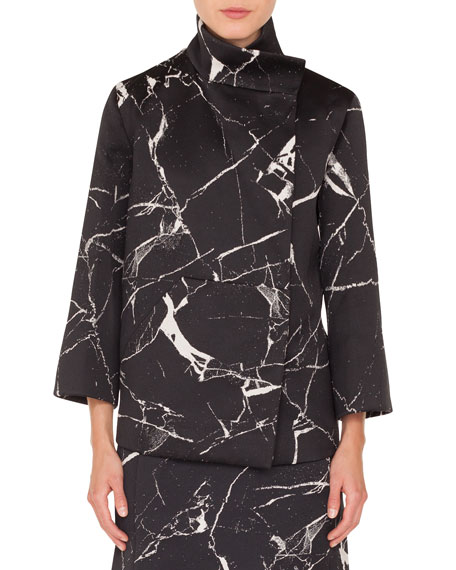 AKRIS Bracelet-Sleeve Marble-Tiles Jacquard Wool-Blend Jacket in Black