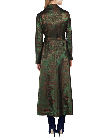 Metallic-Jacquard Belted Trench-Style Coat