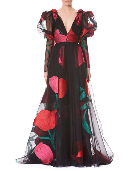 Deep-V Full-Sleeve Tulip-Printed Tulle Evening Gown