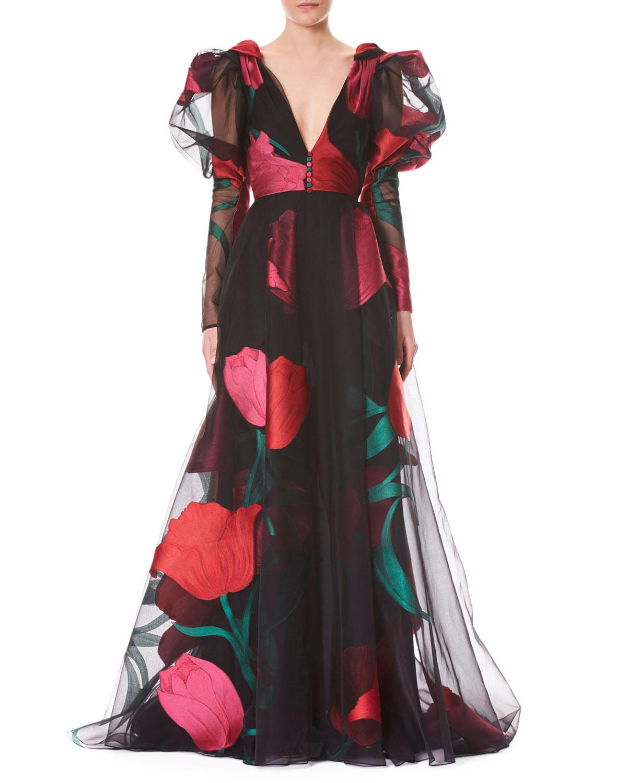 Carolina Herrera Deep V Full Sleeve Tulip Printed Tulle Evening Gown