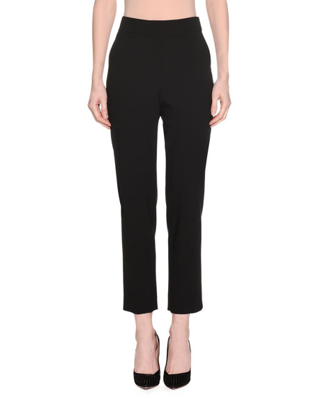 Giorgio Armani High-Waist Straight-Leg Stretch-Wool Pants w/ Slit