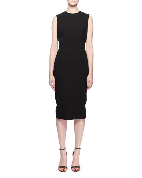 Sleeveless Crewneck Fitted Crepe Dress