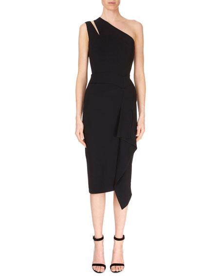 Cutout One-Shoulder Asymmetric Drape Fitted Cocktail Dress
