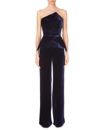 Strapless Peplum Straight-Leg Velvet Jumpsuit