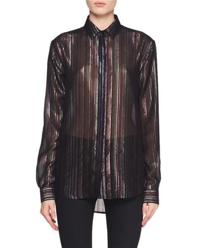 Long-Sleeve Multicolor Metallic-Striped Blouse