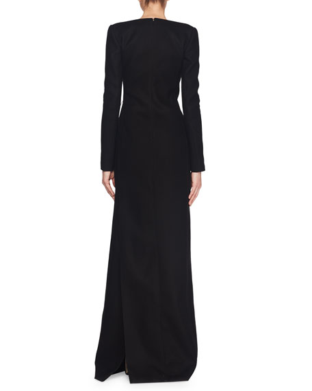 Off-the-Shoulder Scoop-Neck Long-Sleeve A-Line Wool Evening Gown