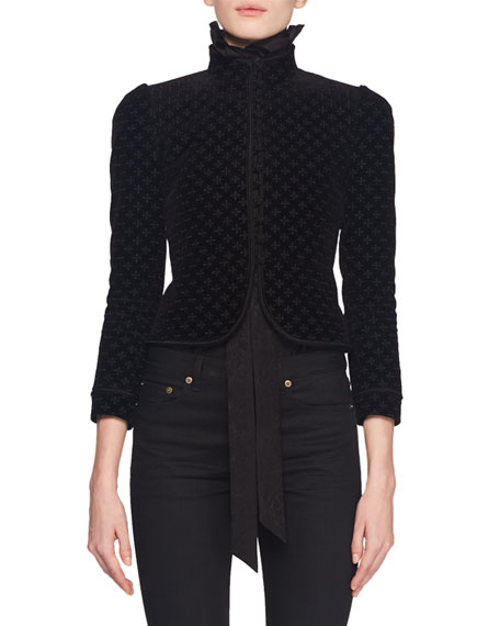 Stand-Collar Button-Front Embroidered Velvet Cropped Blazer