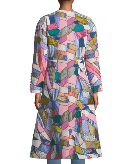 Button-Front Fitted Multi-Patchwork Long Coat