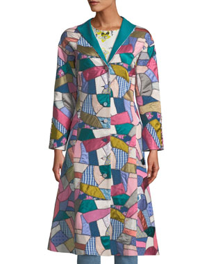 e6ddfe3411 Talitha Collection Button-Front Fitted Multi-Patchwork Long Coat
