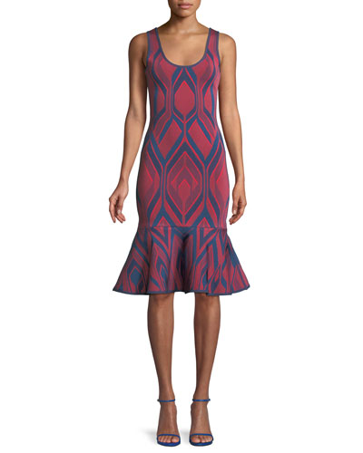 Scoop-Neck Deco-Jacquard Flutter Hem Body-con Cocktail Dress