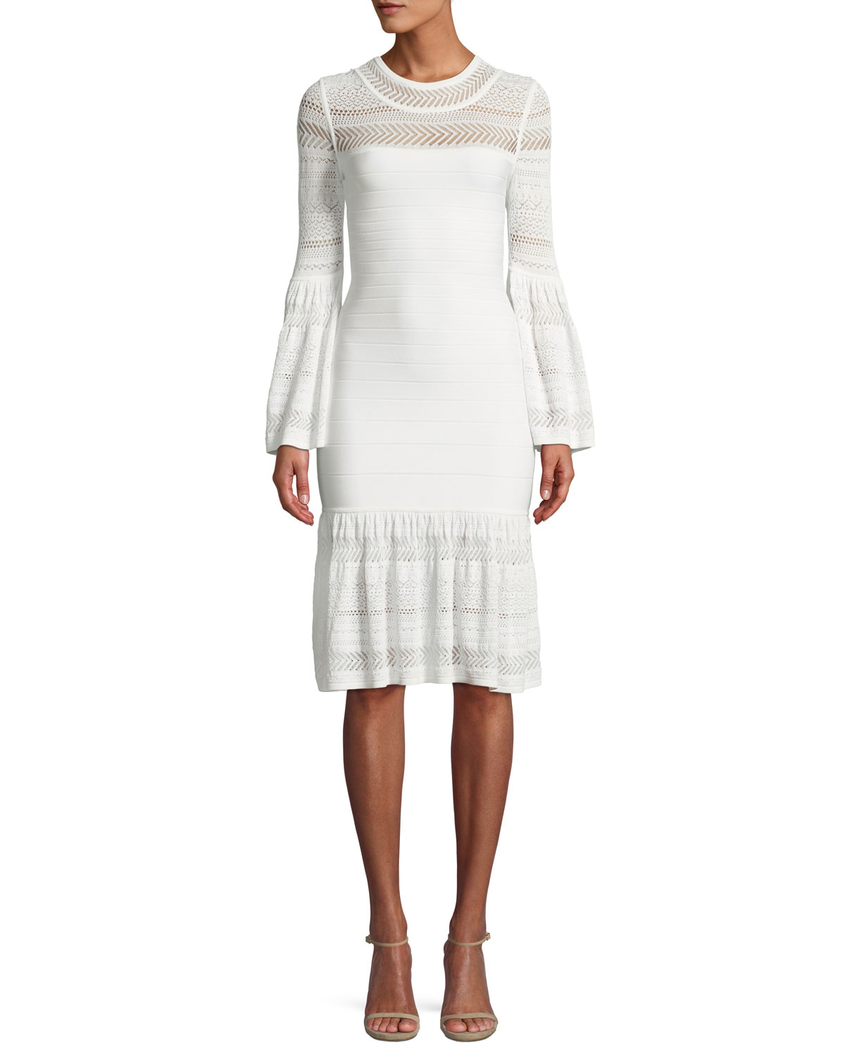 782715dfaf71 Herve Leger Bell-Sleeve Bandage Knit Dress