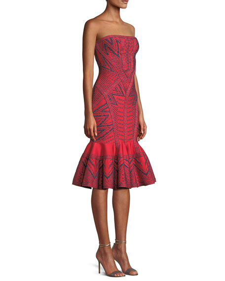 Strapless Geometric-Metallic Jacquard Cocktail Dress w/ Flounce Hem