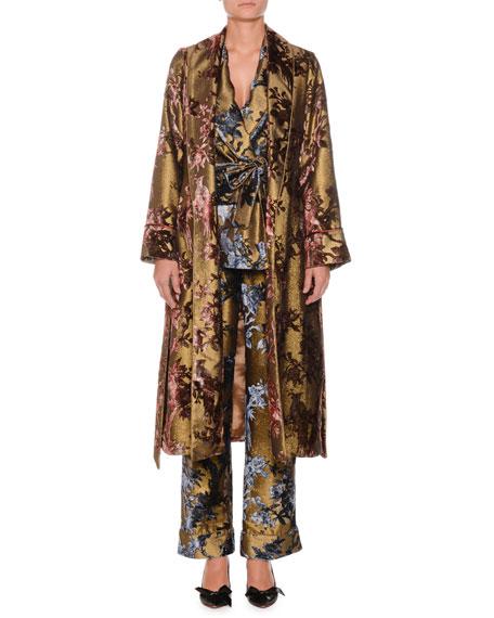Velvet Ramage Metallic Devore Robe