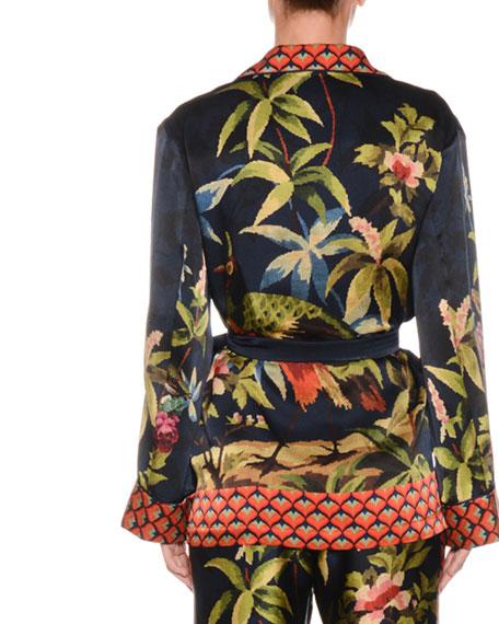 Jungle Foliage Needlepoint Silk Crepe Wrap Blouse Jacket w/ Border