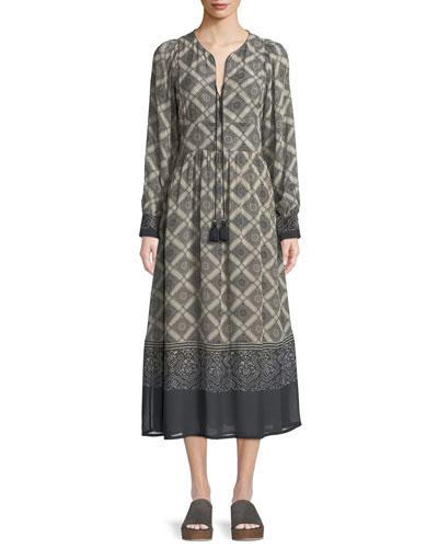 Tie-Neck Long-Sleeve Bahia Tile-Print A-Line Calf-Length Dress