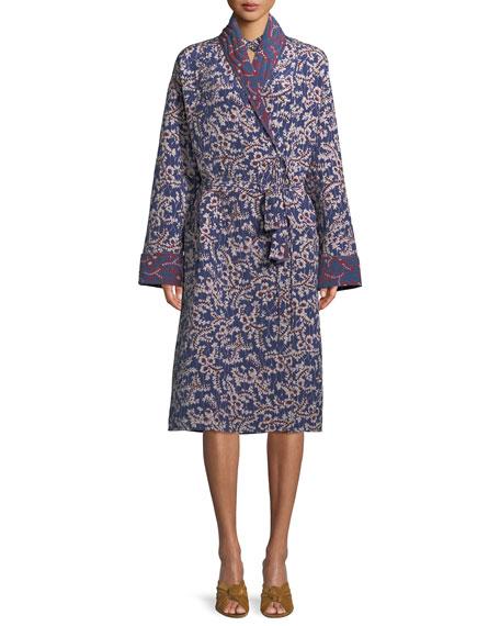 Karina Spanish-Ivy Reversible Silk Robe Coat