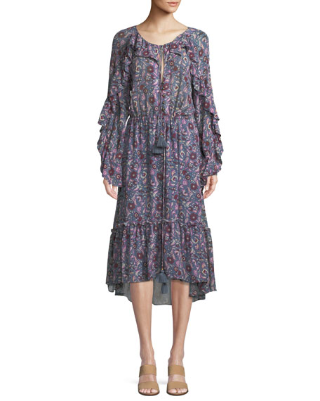 FIGUE Elodie Tassel-Tie Bell-Sleeve Ruffle Floral-Print Crepe Dress in Blue
