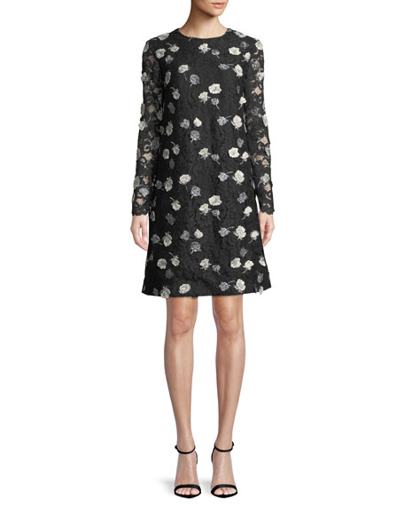 Jewel-Neck Long-Sleeve Floral-Embroidered Lace A-Line Dress