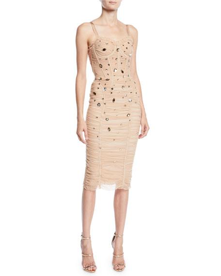 Dolce & Gabbana Corset-Bodice Jewel-Embellished Ruched Tulle