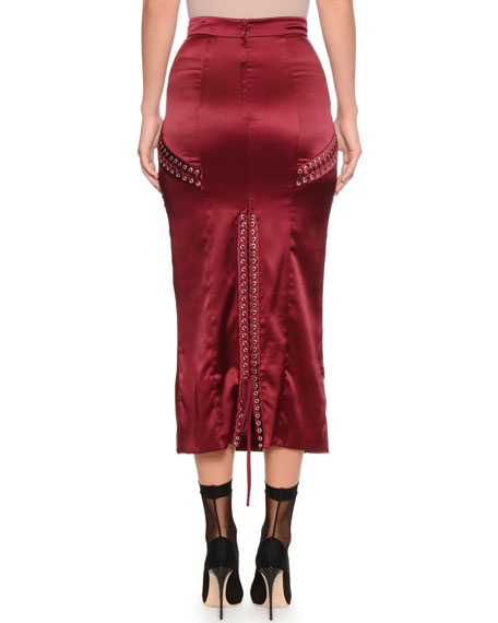 Lace-Up Detail Ankle-Length Satin Skirt