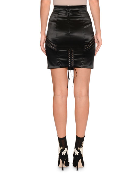 Lace-Up Satin Mini Skirt