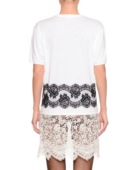 Fashion Sinner Crewneck Short-Sleeve Jersey T-Shirt w/ Lace Trim