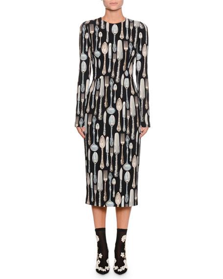 Long-Sleeve Silverware-Print Sheath Midi Dress