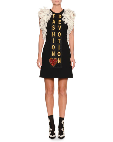 Ruffle-Lace Fashion Devotion Embroidered Crepe Dress