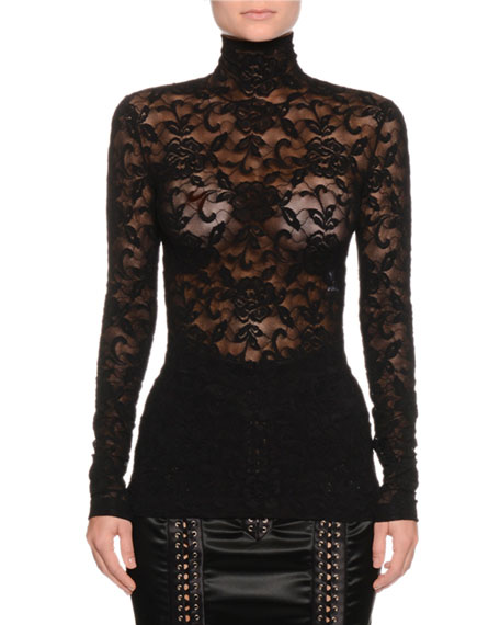 Turtleneck Long-Sleeve Stretch-Lace Blouse