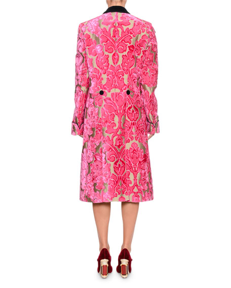 Double-Breasted Damask Velvet Jacquard Mid-Calf Coat