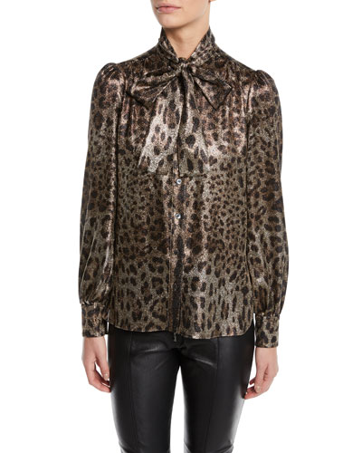 Tie-Neck Long-Sleeve Metallic Leopard Blouse