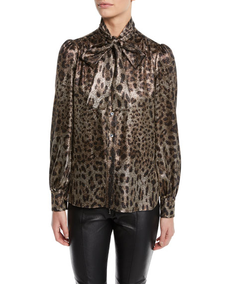 Dolce & Gabbana Tie-Neck Long-Sleeve Metallic Leopard Blouse