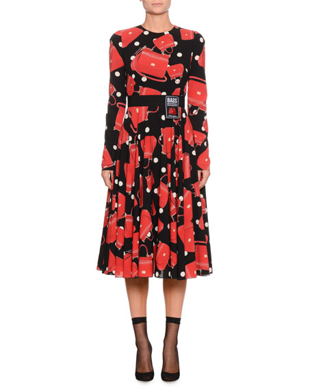 Long-Sleeve Handbag-Print A-Line Dress