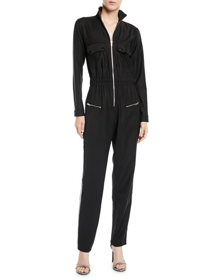 Zip-Front Long-Sleeve Straight-Leg Jumpsuit w/ Sequin Tux Sides