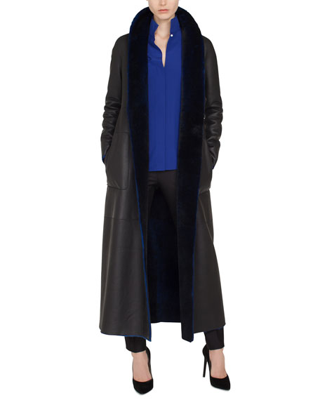 Trinity Snap-Front Long Reversible Shearling Coat