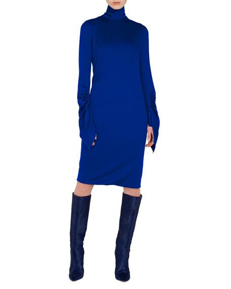 Mock-Neck Draped-Sleeve A-Line Cashmere-Silk Jersey Dress