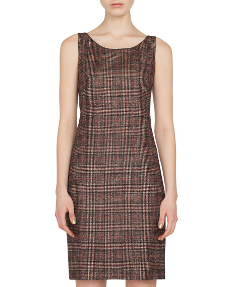Sleeveless Round-Neck Sheath Plaid Wool-Silk Dress