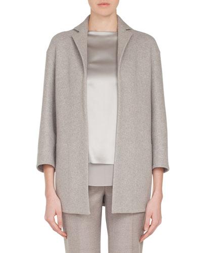 Temel Notched-Lapel Snap-Close Cashmere Jersey Jacket