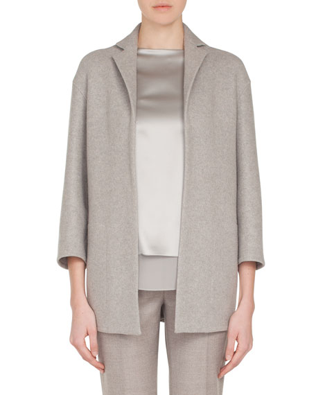 Temel Notched-Lapel Snap-Close Cashmere Jersey Jacket