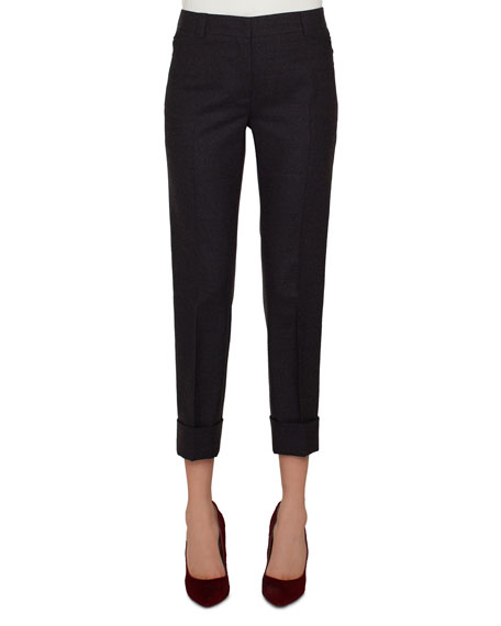 Maxima Conical-Leg Cropped Cuffed Pants