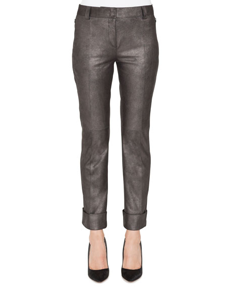 Maxima Conical-Leg Cropped Cuffed Leather Pants
