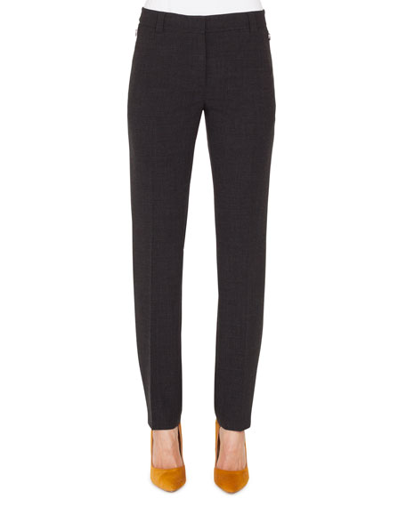 Slim Straight-Leg Zip-Pockets Wool Pants
